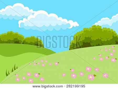Raster Illustration Of Beautiful Fields Landscape With A Dawn, Green Hills, Bright Color Blue Sky An