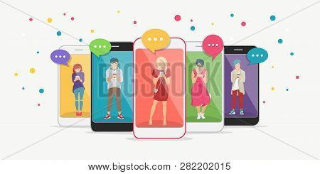 Smart Phone Addiction Concept Flat Vector Illustration Of Teenagers Inside The Mobile Smartphones Wi