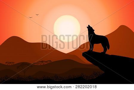 Evening Landscape Howling Wolf At Sunset Stands On A Rock. Vector Illustration Of A Black Silhouette