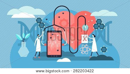 Biotechnology Vector Illustration. Tiny Dna Biology Science Persons Concept. Smart Devices Artificia