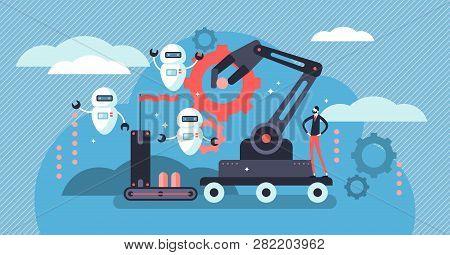 Robotics Vector Illustration. Flat Tiny Person Concept With Future Robots. Industry 4.0 - Factory Jo