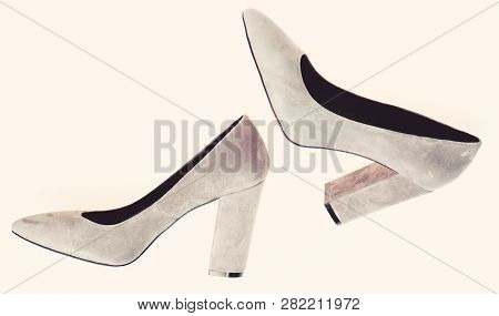 Comfortable High Heels Concept. Shoes Made Out Of Grey Suede On White Background, Isolated. Footwear