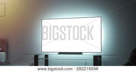 Blank White Large Tv Screen Interior In Darkness Mockup, Side View, 3d Rendering. Empty Televisor In