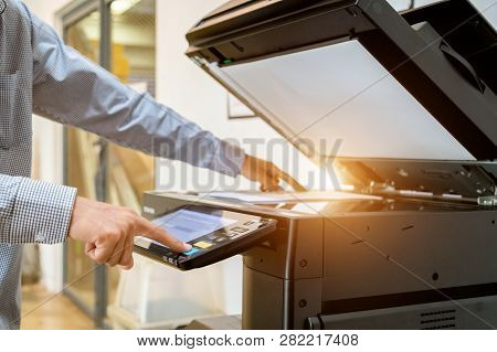 Business Man Hand Press Button On Panel Of Printer, Printer Scanner Laser Office Copy Machine Suppli
