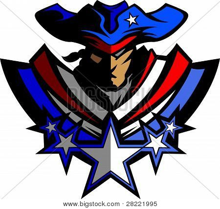 Colonial American Patriot Soldier Graphic Vector Image poster