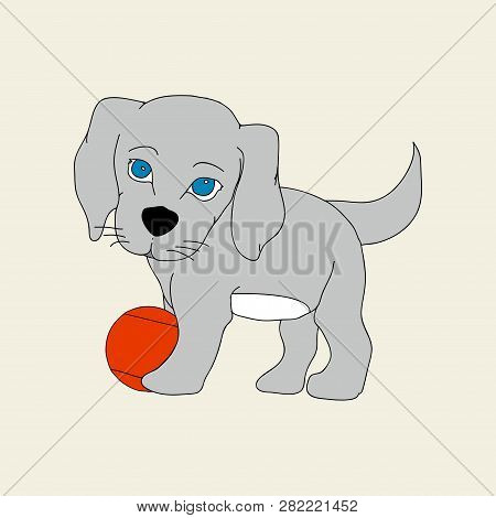 Hand Drawn Cute Puppy Dog With Blue Eyes And Red Ball Background