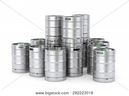 Group Of Aluminum Beer Kegs Stacked In Pile Isolated On White Background. 3d Illustration