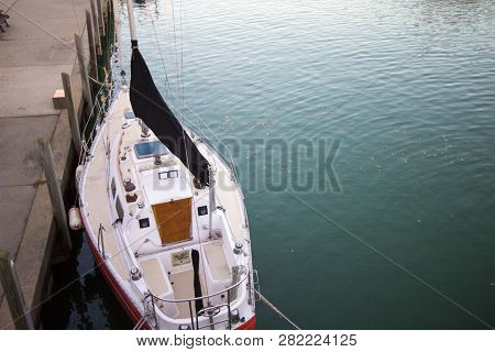 Sailboat Deck. View Of Sailboat Deck From Above In Horizontal Orientation.
