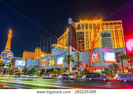 Main Street Of Las Vegas-is The Strip In Evening Time. Casino, Hotel And Resort- Planet Hollywood.