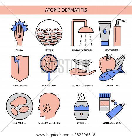 Atopic Dermatitis Icon Set In Line Style