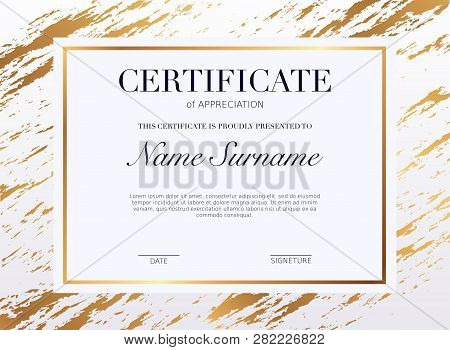 Certificate Template With Golden Decoration Element. Design Diploma Graduation, Award. Vector Illust