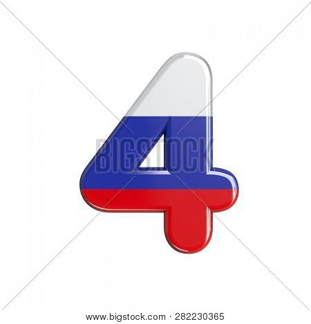 Russian digit 4 isolated on white background. This font collection is well-suited for various projects related but not limited to Russia, politics, economics...