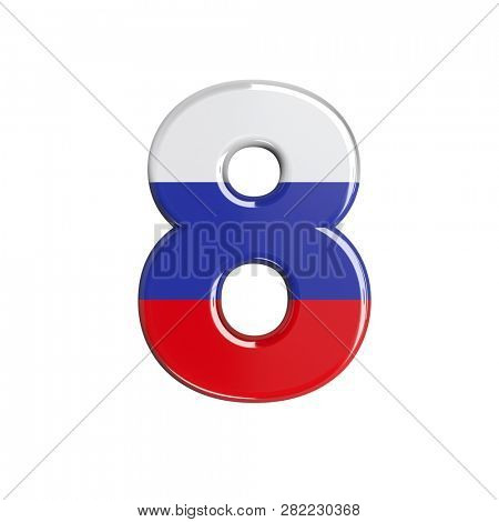 Russian digit 8 isolated on white background. This font collection is well-suited for various projects related but not limited to Russia, politics, economics...