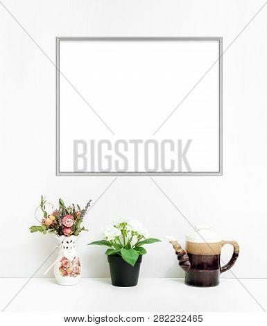 8x10 16x20 Horizontal Frame Mockup, Light Background, Frame In Interior