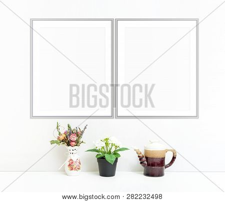8x10 16x20 Set Of Two Vertical Frame Mockup, Double Frame On White Background