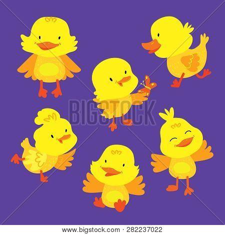 Cute Baby Duckling Animal Mascot Drawing Set