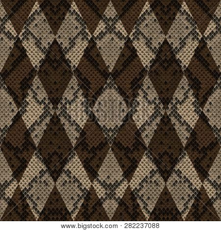 Snakeskin Reptile Geometric Seamless Pattern. Vector Background