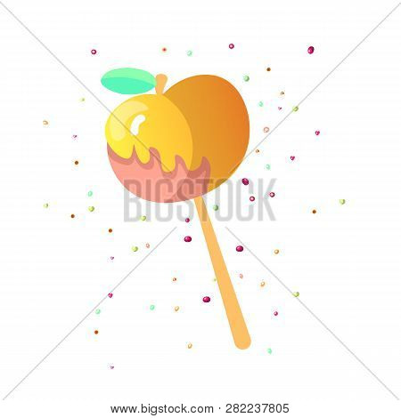 Cute Cartoon Apple Caramel Icon. Caramelized Apple Icon With Decoration, Sweet Cartoon Lollipop Icon