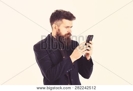 Business Failure Concept. Bearded Man Has Bad News About His Failure