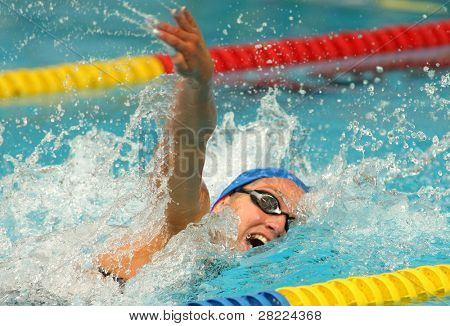 BARCELONA, SPAIN - JUNE 6: Spanish record woman and medalist swimmer Mireia Belmonte swims crawl style during the Mare Nostrum meeting in Barcelona's Sant Andreu club, June 6, 2009 in Barcelona, Spain.