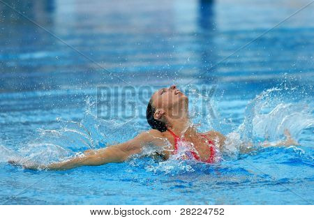 BARCELONA, SPAIN - JUNE 20: Spanish medalist Gemma Mengual swims a solo exercise during the Espana Sincro meeting in Barcelona Picornell Swimpool, June 14, 2007 in Barcelona, Spain.