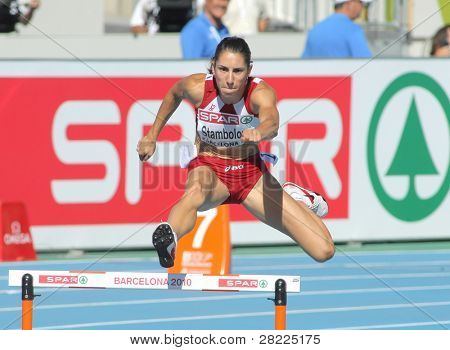 BARCELONA, SPAIN - JULY 27: Vania Stambolova of Bulgaria competes in the Women 400m Hurdles during the 20th European Athletics Championships at the Olympic Stadium on July 27, 2010 in Barcelona, Spain.