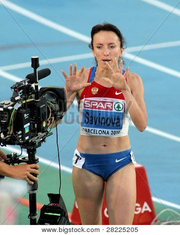 BARCELONA, SPAIN - JULY 27: Mariya Savinova of Russia greetings later the Women 800m during the 20th European Athletics Championships at the Olympic Stadium on July 27, 2010 in Barcelona, Spain.