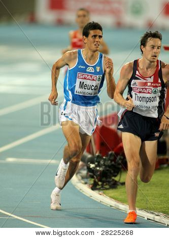 BARCELONA, SPAIN - JULY 27: Daniele Meucci of Italy during the Men 10000m final during the 20th European Athletics Championships at the Olympic Stadium on July 27, 2010 in Barcelona, Spain
