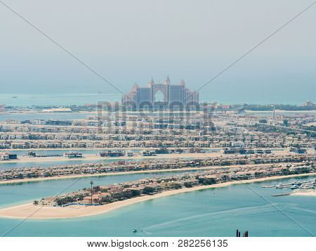 View On Residential Buildings On Palm Jumeirah Island. The Palm Jumeirah Is An Artificial Archipelag