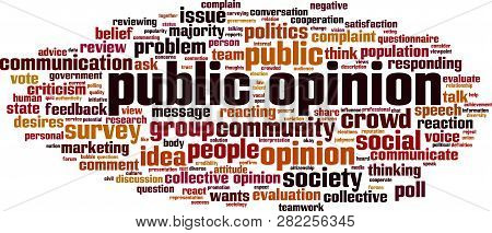 Public Opinion Word Cloud Concept. Vector Illustration On White