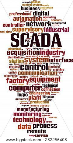 Scada Word Cloud Concept. Vector Illustration On White