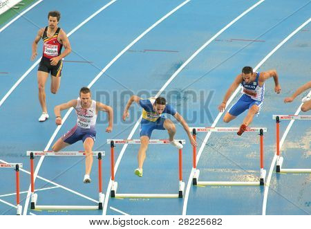 BARCELONA, SPAIN - JULY 29: Competitors of 400m Hurdles Men during the 20th European Athletics Championships at the Stadium on July 29, 2010 in Barcelona, Spain