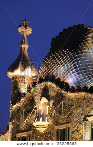 BARCELONA, SPAIN - 1 OCT: A view of the top of Casa Batllo in Barcelona, Spain, designed by architect Antoni Gaudi referred to as Catalan Modernisme  architecture in Barcelona, Spain. October 1, 2010