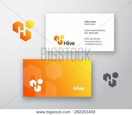 Hive Abstract Vector Logo And Business Card Template. Letter H Incorporated In The Hive Cells With M