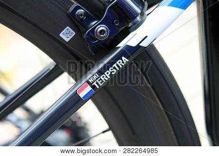 Ruzomberok, Slovakia - September 14, 2018: Niki Terpstra Bicycle Detail Before Third Stage Of Road C