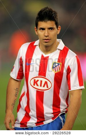 BARCELONA - FEB 5: Kun Aguero of Atletico Madrid during the match between FC Barcelona and Atletico Madrid at the Nou Camp Stadium on February 5, 2011 in Barcelona, Spain