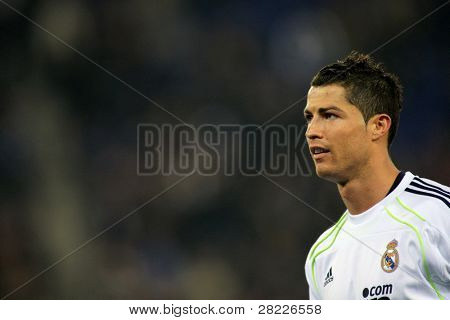 BARCELONA - 13: Cristiano Ronaldo of Real Madrid during a spanish league match between Espanyol and Real Madrid at the Estadi Cornella on February 13, 2011 in Barcelona, Spain