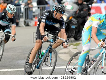 BARCELONA - MARCH 27: Team Sky's cyclist Spanish Xabier Zandio  rides with the pack during the Tour of Catalonia cycling race in Barcelona on March 27, 2011