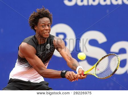 BARCELONA, SPAIN - APRIL 21: French tennis player Gael Monfils in action during the first round match of the Barcelona tennis tournament Conde de Godo on April 21, 2011 in Barcelona, Spain.