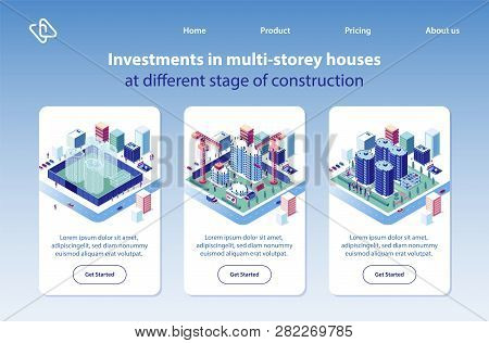 Multi-storey Houses Construction Investment Project Isometric Vector Vertical Web Banners Set. City