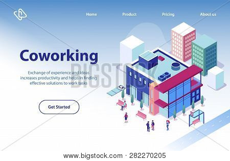 Commercial Real Estate Object Isometric Vector Web Banner Or Landing Page Template With Business Peo