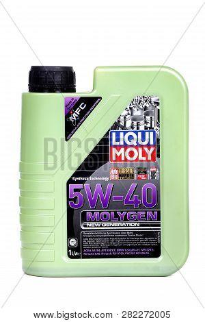 Novyy Urengoy, Russia - January 31, 2019: Plastic Canister Of The Motor Oil Liqui Moly 5w-40 Molygen