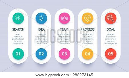 Process Steps Infographic Chart. Business Strategy Layout, Workflow Timeline And Startup Plan Diagra