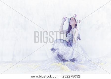 A Beautiful Woman Wearing A Beautiful Princess,cute  Girl In A Princess Costume. Pretty Girl Prepari