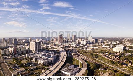 Aerial panoramic photo of the downtown area of Tampa, Florida and highways.