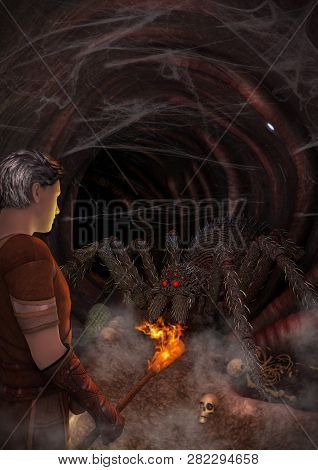 A Man With A Torch Discovering A Monstrous Spider Inside A Dark Cave. 3d Illustration.