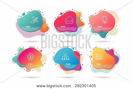 Dynamic Liquid Shapes. Set Of Mail, Restructuring And Startup Rocket Icons. Air Balloon Sign. E-mail