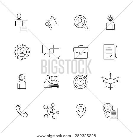 Head Hunting Icon. Professional Top Manager Work Employment Job Personal Ce Vector Thin Line Symbols