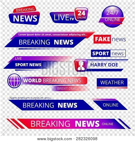 Breaking News. Television Channel Broadcasting Service Graphic Headpiece Banners Vector Template. Br