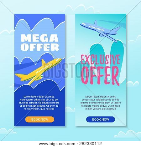 Mega Offer. Exclusive Offer. Book Now. Plane Gaining Altitude. Flight From Airport. Air Route. Sale
